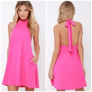 Lulu's hot pink halter mini shift dress